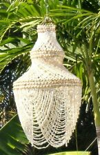 "30"" WHITE SEA SHELL CHANDELIER, WIND CHIME BEACH DECOR TROPICAL WINDCHIME"