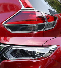 Chrome Front + Rear Light Lamp Cover Trim 6PC for Nissan Rogue X-Trail 2017-2018
