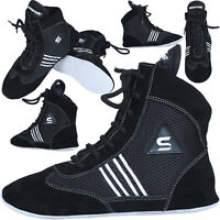 SAWANS® Boxing Wrestling Shoes Suede Leather Light Weight Boots Padding Mesh MMA