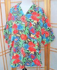 Vintage Blouse Chic Retro Mod Bright Floral short sleeve button front SZ 22W