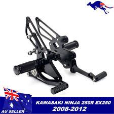 Black CNC Rearset Footrest kit 4 2008 - 2012 Kawasaki Ninja 250R EX250 2010 2011