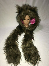 NEIMAN MARCUS SKAIST TAYLOR FAUX FUR WOLF BEAR HAT WITH SCARF SIZE L/XL AWESOME