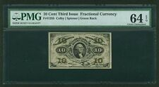 """U.S. 1864-69 10 CENTS FRACTIONAL CURRENCY FR-1255 CERTIFIED PMG """"CHOICE-64-EPQ"""""""