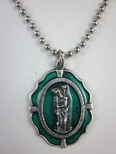 """Large St Christopher Medal Green Enamel Italy Necklace 24"""" Ball Bead Chain"""