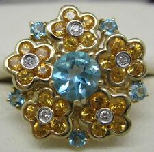 Diamond Yellow Gold Natural Topaz Fine Rings