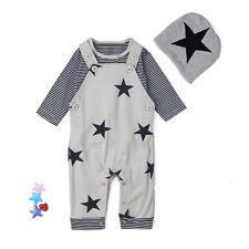 3PCS Newborn Baby Kid Boy T-shirt Top Pants Overall Hat Brace Outfits Set 6M
