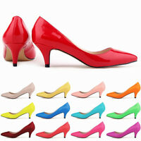 Womens Fashion Classic Pointed Toe Kitten Heels Multi Colors Slip On Court Shoes