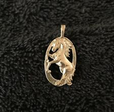 Sterling Silver ~2 grams Rearing Horse In Open Oval Frame Pendant