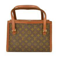 Louis Vuitton Vintage Monogram Canvas Shoulder Satchel Tote Hand Bag Brown LV