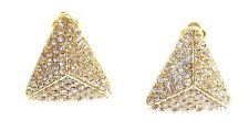 CLIP-ON EARRINGS 3D CRYSTAL TRIANGLE EARRINGS RHINESTONE PAVED GOLD TONE 1.25 IN