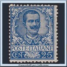 1901 Italia Regno Floreale cent. 25 azzurro n. 73  Nuovo integro **