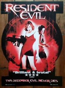 Resident Evil Original 2002 POSTER for the video store release  Milla Jovovich