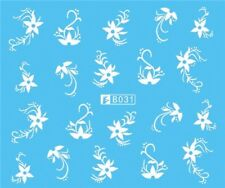 Nail Art Stickers Water Decals Transfers White Mono Design Flowers (B031)