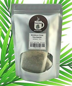 Masala Chai Tea Bags -  Cinnamon, ginger, cardamom, black tea, allspice, cloves