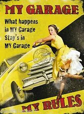 Vintage Style Retro Metal Wall Plaque MY GARAGE MY RULES Tin Sign Mens Dad Gift