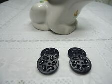 Vintage Round Flat Navy Blue Buttons with Etched Design-Qty 4