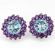 Sterling Silver 925 Genuine Natural Amethyst, Blue Topaz & Rhodolite Earrings
