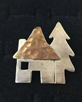 Vintage Sterling Silver Brooch Ann Harvey Mexico House Tree Two Tone Ribbed Pin