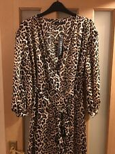 Boohoo Gemma Collins Wrap Leopard Balloon Sleeve Midi Dress Size 8