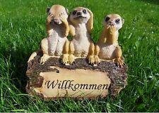 Erdmännchen Familie Gartendekoration Gartenfigur mit Schriftzug Willkommen - NEU