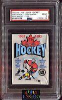 1992 O-Pee-Chee Hockey Wax Pack w/ Patrick Roy Rookie Insert on Top PSA 9 Mint