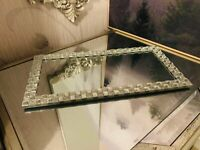 Rectangle Silver Mirror Plate Vanity Perfume Makeup Candle Tray Plate 32 CM