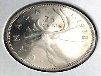 1938 Canada Twenty Five 25 Cent Quarter Canadian George VI Whizzed Coin K995