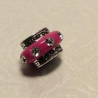 BRIGHTON ABC DAZZLE  Dark Pink Oval  Bead/Charm With Swarovski Crystals  NWOT