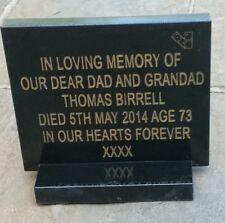 Engraved memorial plaque grave stone headstone grave personalised stone black