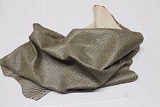Italian Goatskin leather skin hide BUBBLES GRAINY ARMY KHAKI 6sqf #A2171