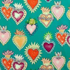 Alexander Henry Gothic Tattoo Style Soul & Hearts on Green Cotton Fabric - FQ