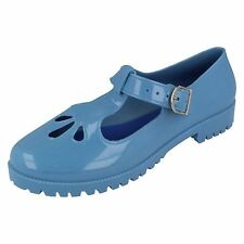 Spot On Ladies  F80045 Mary Jane Mid Blue T-Bar Jelly Shoe UK3 to 8 (R13A)