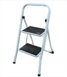 Step Ladder - Tread Two Tier Kitchen Garage Metal Folding Steps