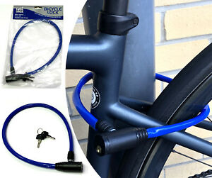 BIKE LOCK Bicycle Compact Cycle Security Cable BLUE steel plastic coated & keys