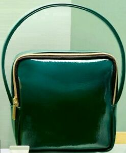 Sephora Bag Patent Green Faux Leather Handbag NEW Play Luxe Makeup Cosmetics