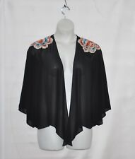 Joan Rivers Chiffon Kimono Jacket with Floral Embroidery Size S Black