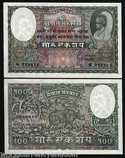 NEPAL 100 MOHRU P7 1951 KING RHINO CEROS UNC LARGE SIZE RARE ANIMAL MONEY NOTE