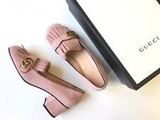 GUCCI Marmont Crystal Pink Suede Fringe Block Heel Size EU 39 (US 9) $800*