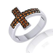 Vermelho Garnet Cross Band Ring 14K White Gold Over Sterling Silver 925