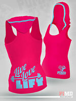 PIMD Women Vest With Hood - Pink Running Racer Back Gym Sports Top Workout Yoga