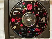 AMERICAN GREETINGS CREATACARD PLUS CD ROM PC SOFTWARE! 1996 MICROGRAFX! VG
