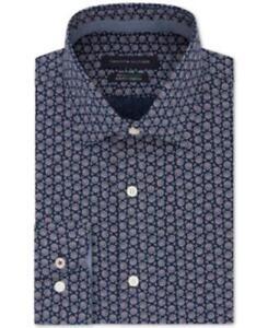 Tommy Hilfiger Men's Collared Long Sleeve Floral Print Dress Shirt (Black, L)