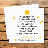 Personalised Thank You Teacher Card Nursery Nurse Male Female Shine Star Best