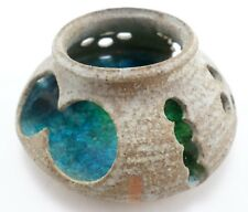 Dun Caoin Chaoin Ireland Pottery & Aqua Crackle Glass Candle Holder Sculpture