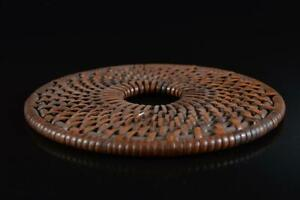 L753: Japanese Old Wooden Wickerwork/Ajiro-shaped TEA KETTLE TRAY Saucer Stand