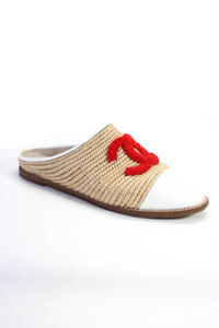 Chanel Leather Textured Logo Mule Flats Brown Red White Size 39 9