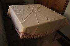 "Round 62"" Table Cloth Beige with Salmon Flowered Lace Trim"