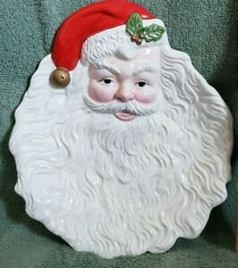 "Vintage Sculpted Porcelain Santa Claus Figure 9"" Serving Tray Plate Candy Dish"