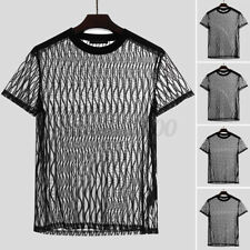 Men's Mesh See Through Short Sleeve Fishnet T Shirts Party Clubwear Blouse Tops