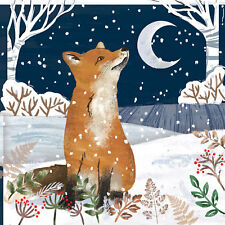 10 x Night Fox Christmas Cards for Royal Trinity Hospice Charity Silver Foil